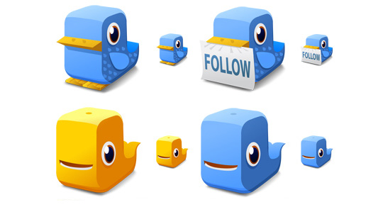 4 Twitter Icon Set