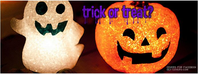 halloween trick or treat candy ghosts facebook cover