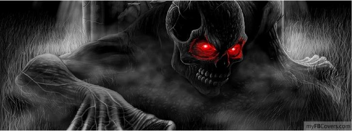 red skull ghost halloween facebook cover image