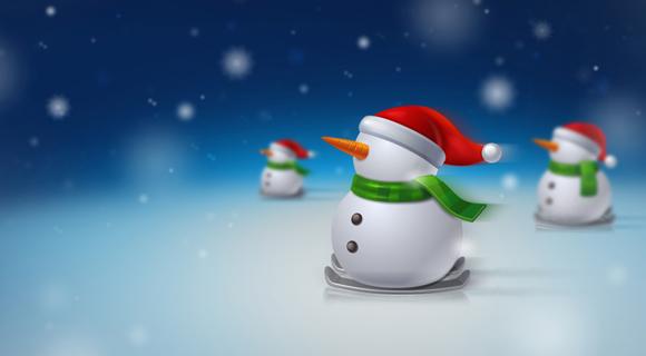 snowman christmas skiing wallpaper
