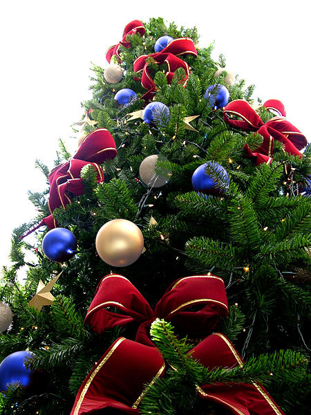 Red Bead Christmas Tree with Silver & Blue Ornaments