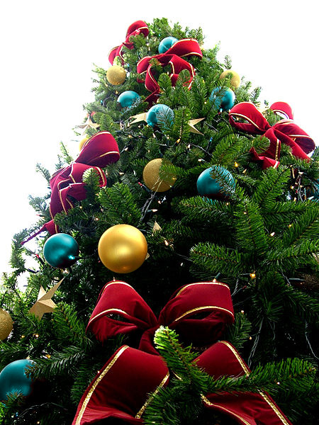 Red Bead Christmas Tree with Blue/Yellow & Silver Ornaments