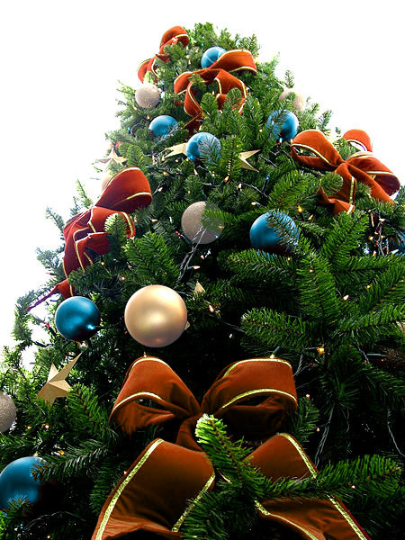 Orange Bead Christmas Tree with Light Blue & Pearl White Ornaments