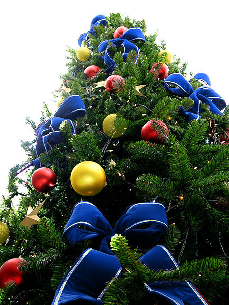 Blue Bead Christmas Tree with Red & Yellow Ornaments