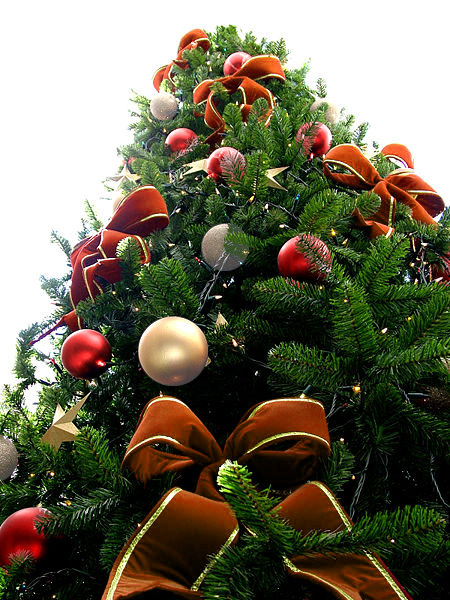 Orange Bead Christmas Tree with Red & White Ornaments