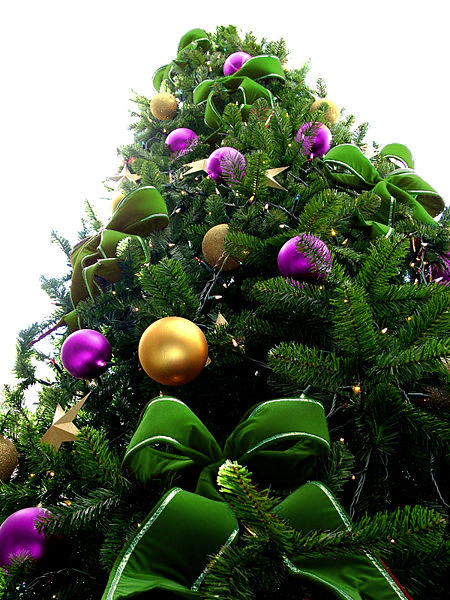 Green Bead Christmas Tree with Purple & Yellow Ornaments
