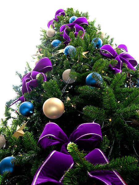 Violet Bead Christmas Tree with Blue & Silver Ornaments