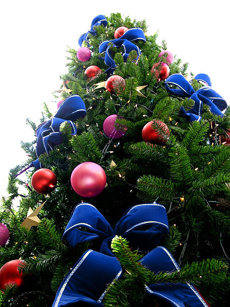 Blue Bead Christmas Tree with Red & Violet Ornaments