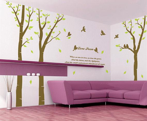 Love Poem Tree With Birds Wall Sticker