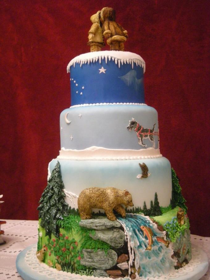 Alaska cake: side view