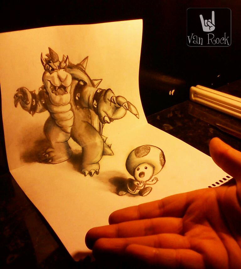 3D bowser and toad