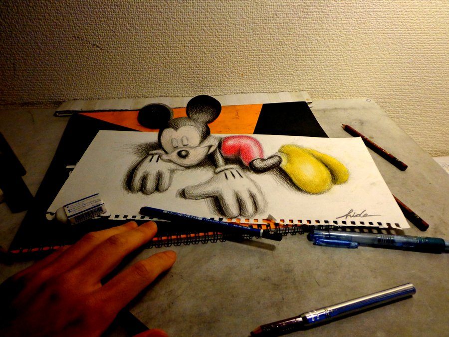 D Drawing - 3D Mickey Mouse