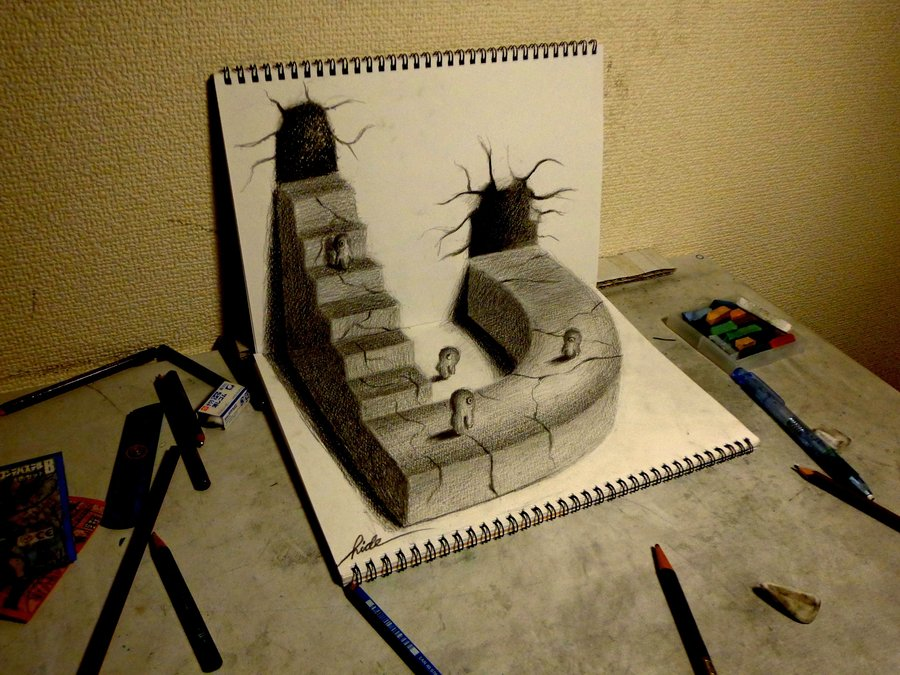 3D Drawing - World drawn by pencil