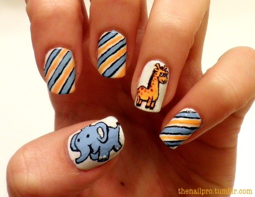 Elephant and Giraffe Accent Nails