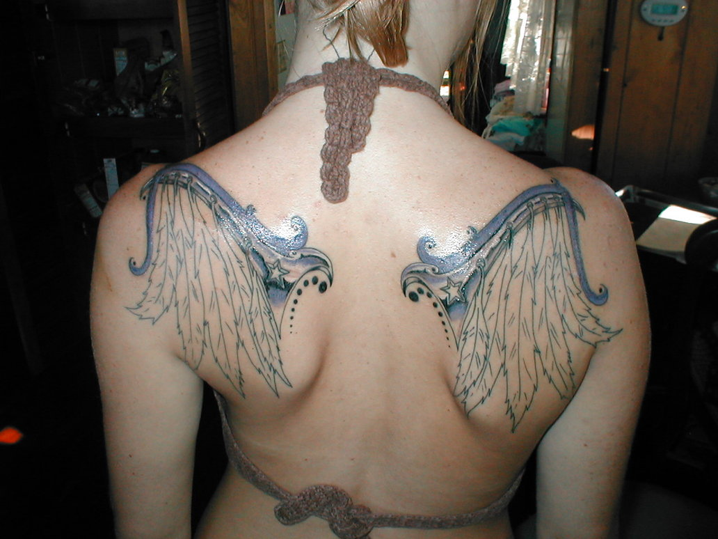 Wings Tattoo Half Colored