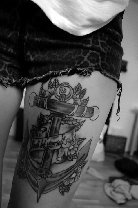 Anchor Thigh Tattoo