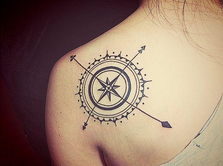 Dark Ink Compass Tattoo
