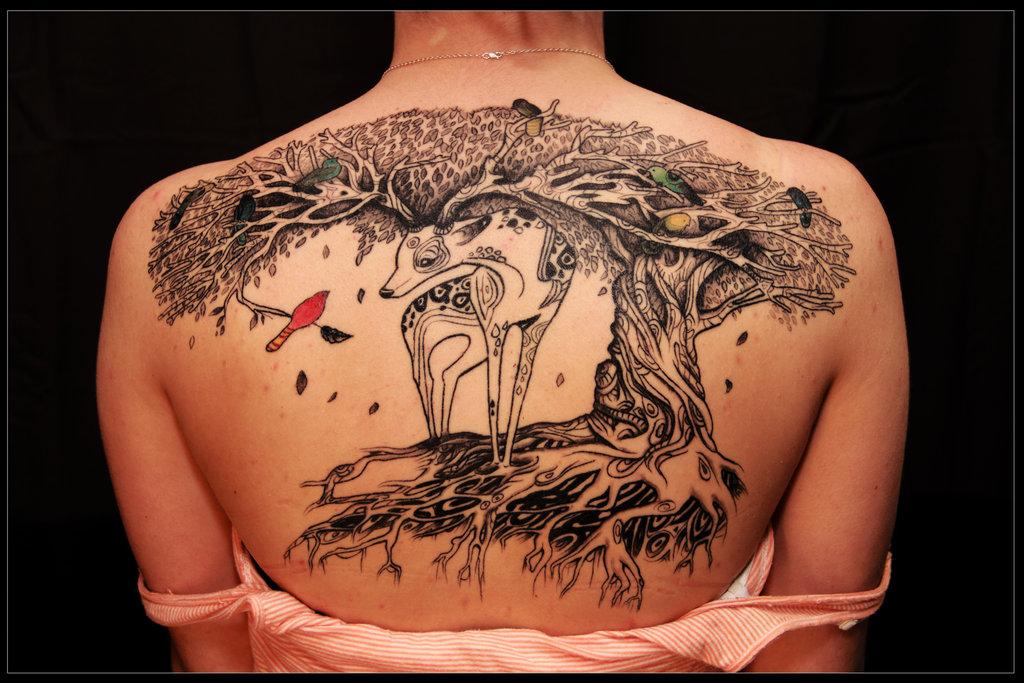 Deer Tree Tattoo