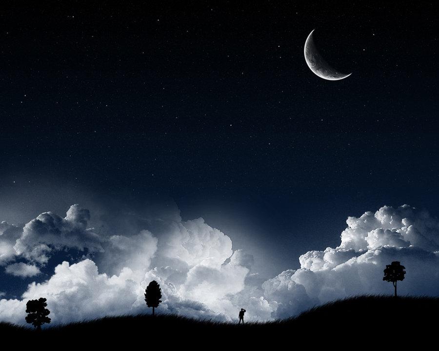 A Dark Starry Night Wallpaper
