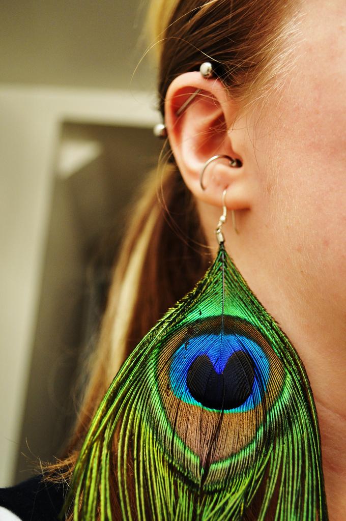 amazing peacock feather earrings