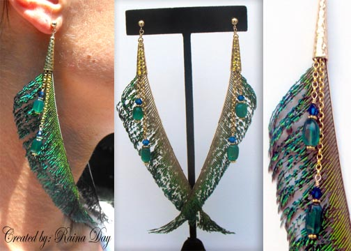 chain crystal peacock feather earrings