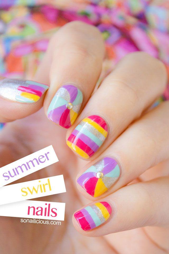 summer swirl nails