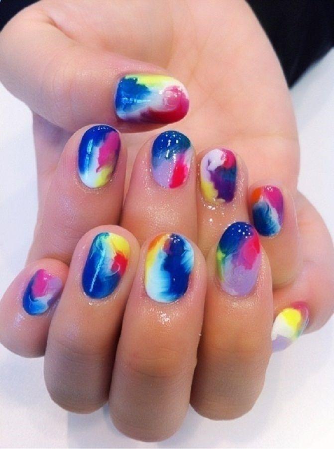 galaxy color nails