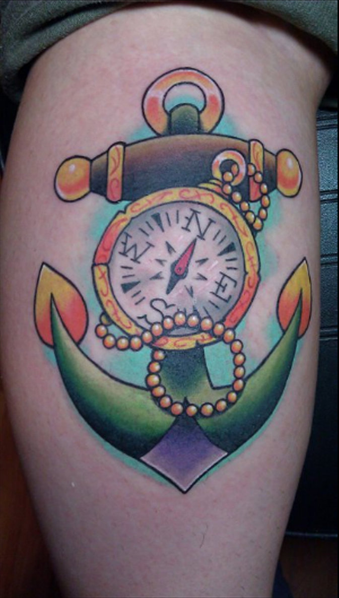 traditional anchor and compass tattoo