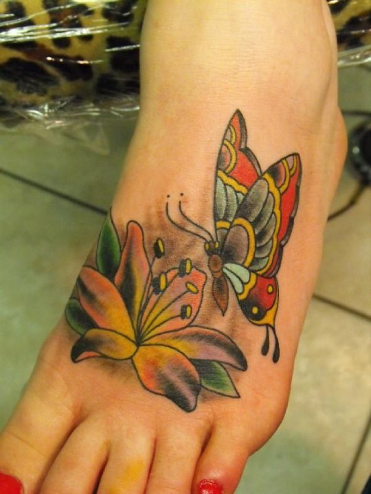 butterfly flower tattoo