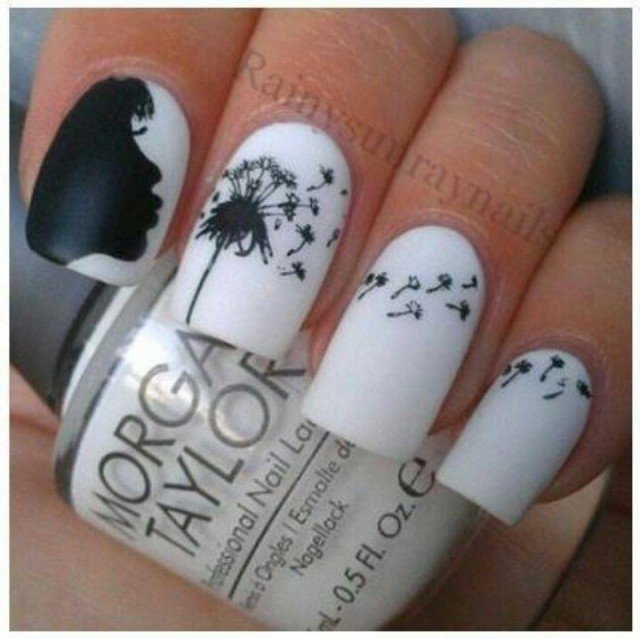 10 black and white nails designs