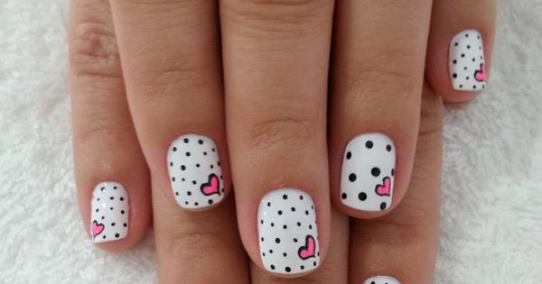 16 black and white nails