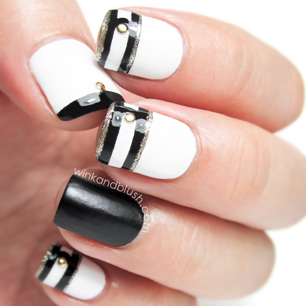 22 black and white nail design