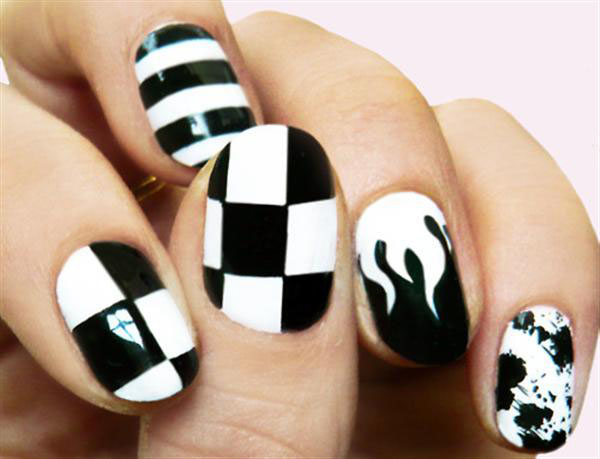 26 black and white nail design