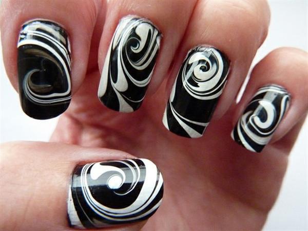 27 black and white nail design