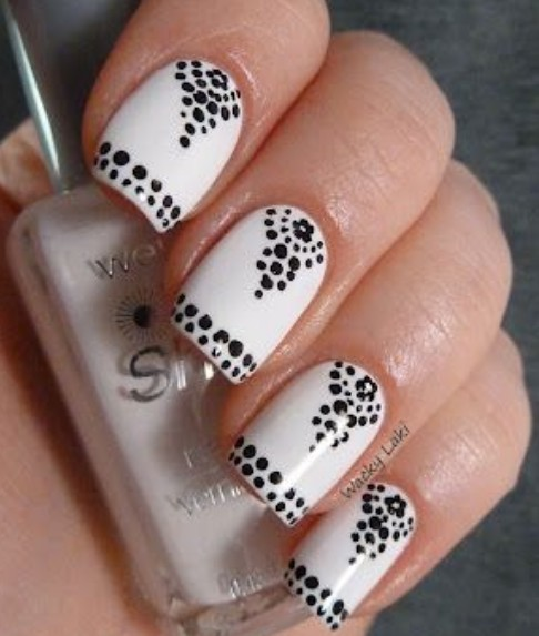 28 black and white nail design