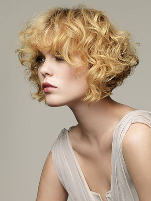 best Short Curly Blonde Bob