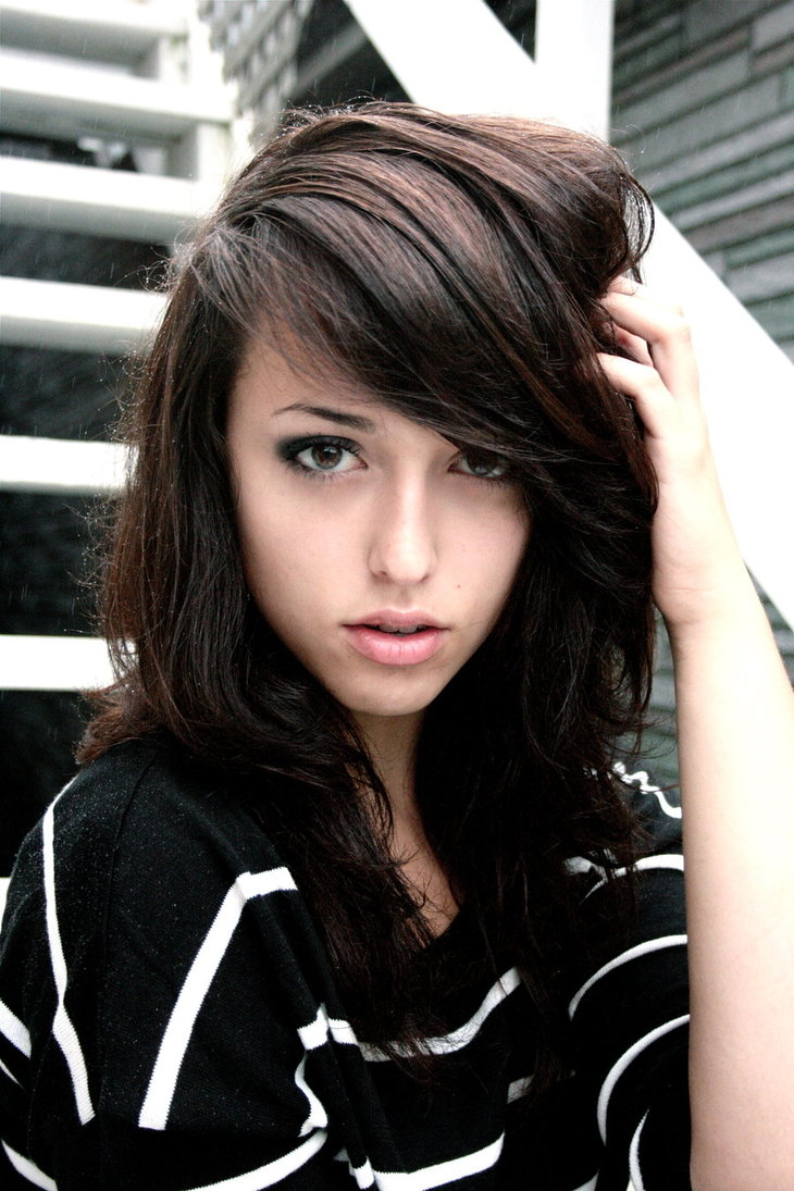 brunette with dark hair