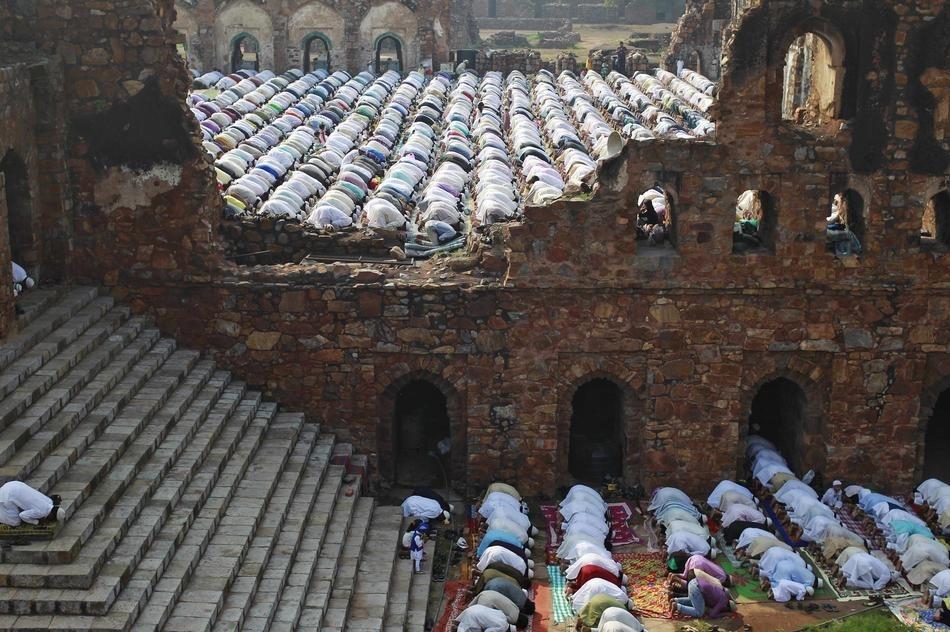 Eid Al Adha Prayers Feroz Shah Kotla Mosque New Delhi