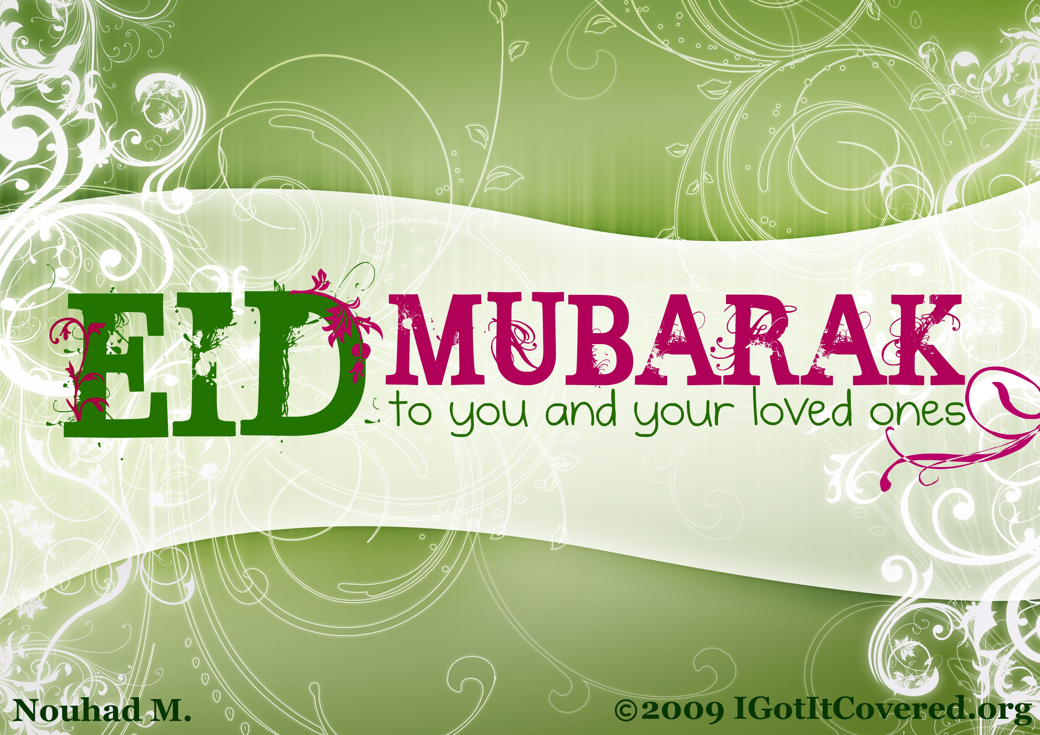 Eid Mubarak decorated greeting card