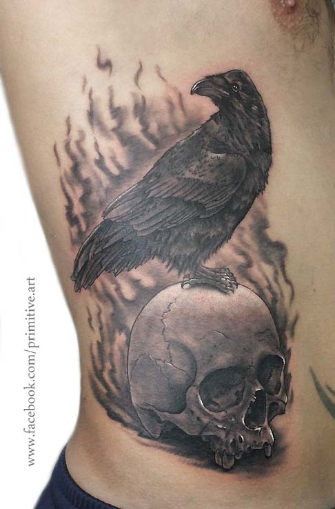 raven and skull