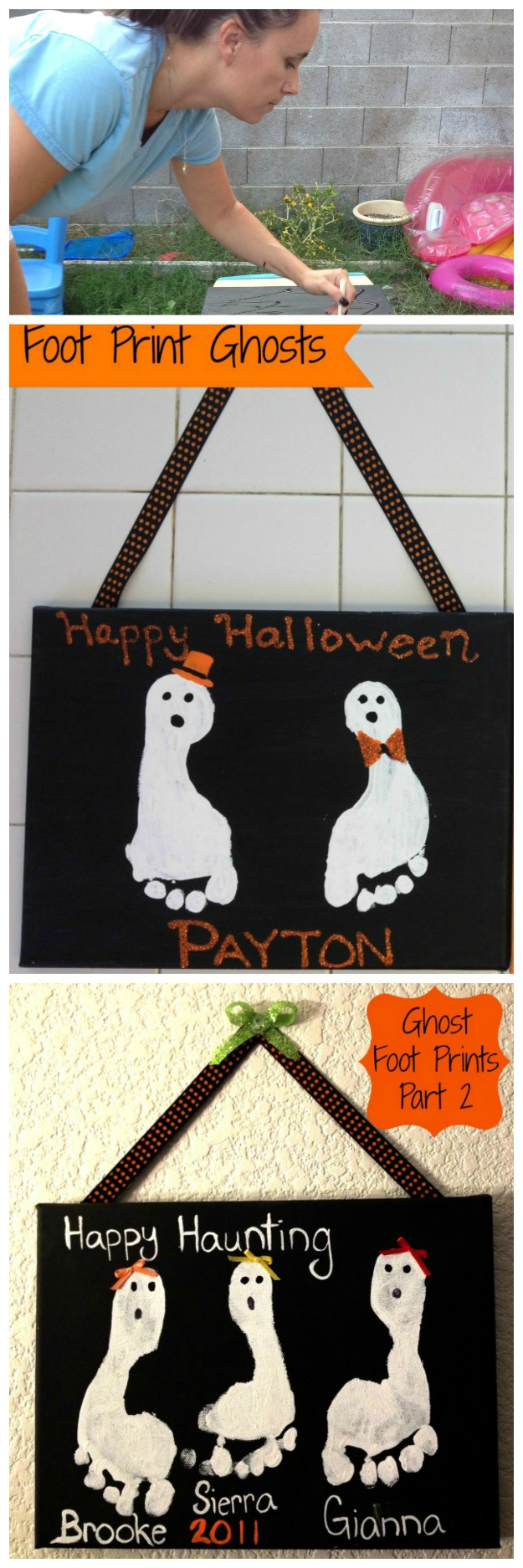 Halloween ghost foot print crafts for kids