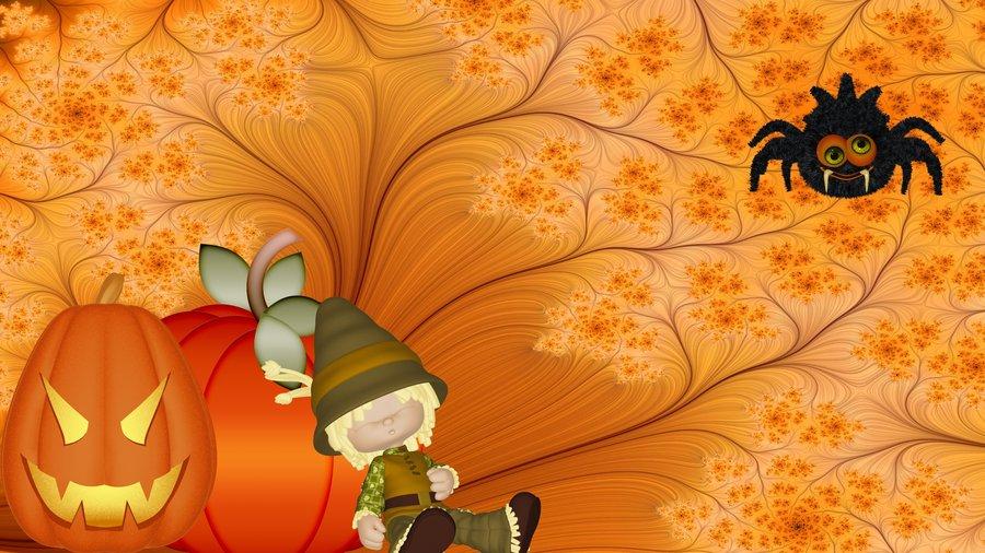 Pumpkins, scarecrow and spider Halloween