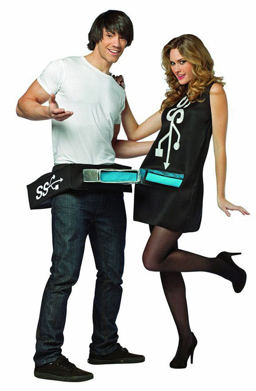 USB Port & Stick Couples Costume