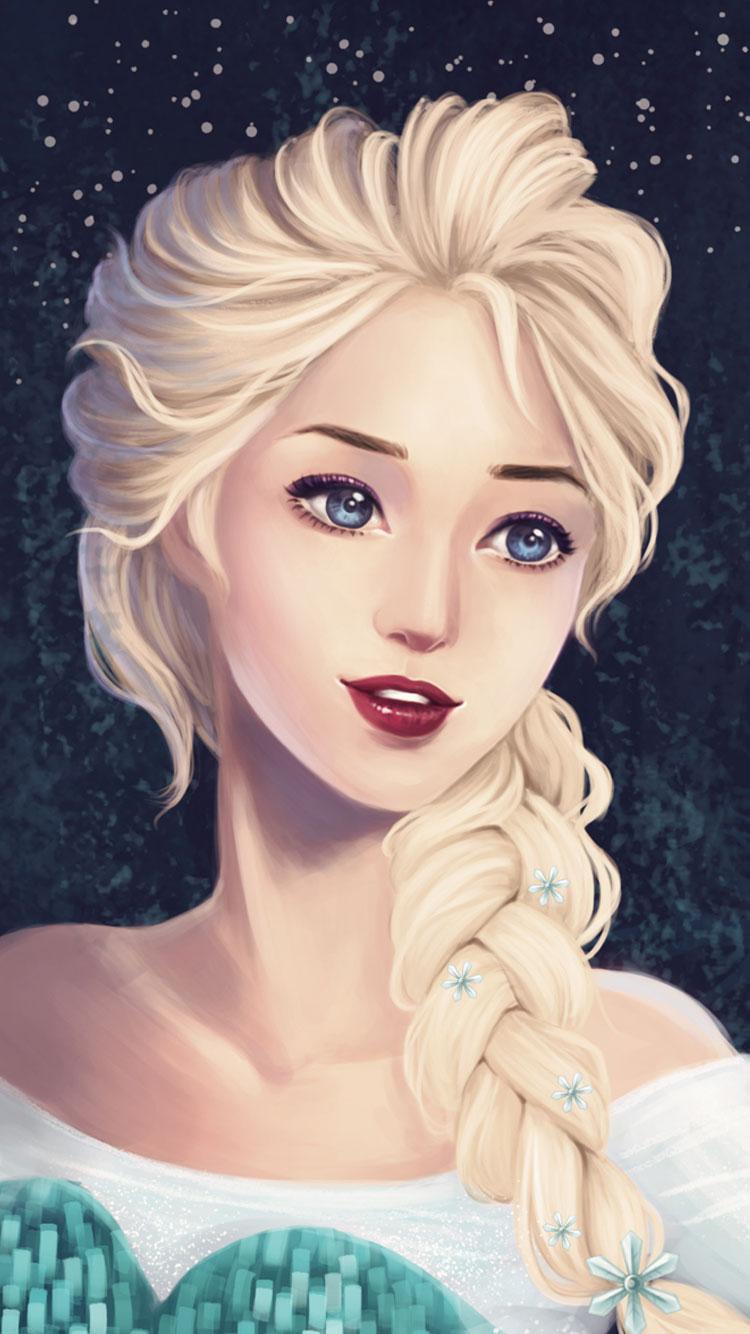 cute painting elsa frozen iphone wallpaper