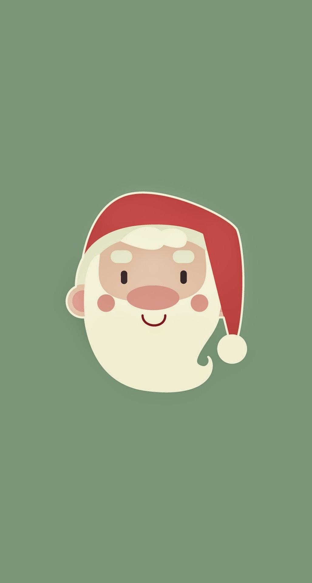 cute santa claus minimal illustration wallpaper for iphone