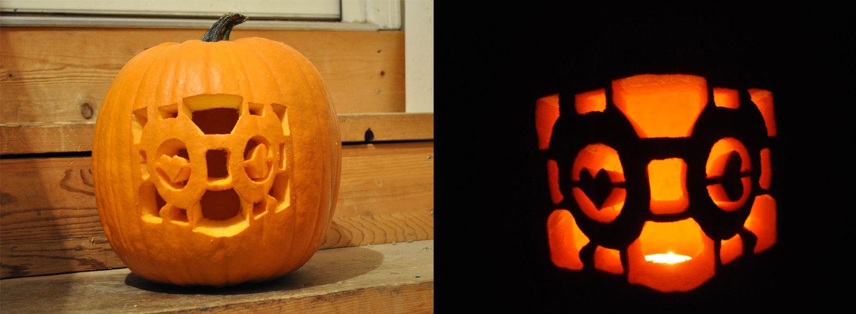 portal companion cube pumpkin carving idea for halloween