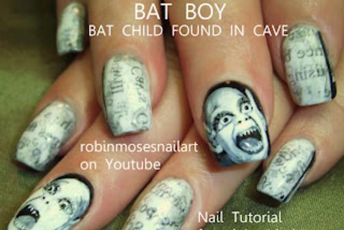 scary bat boy nail ideas for halloween