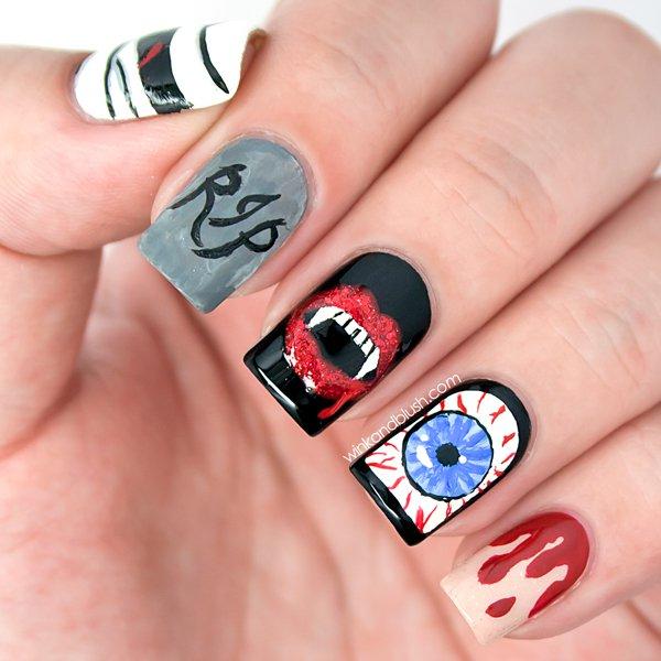 scary halloween nail art design ideas