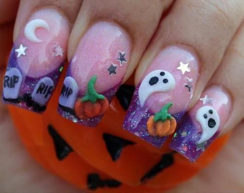 scary halloween nail art