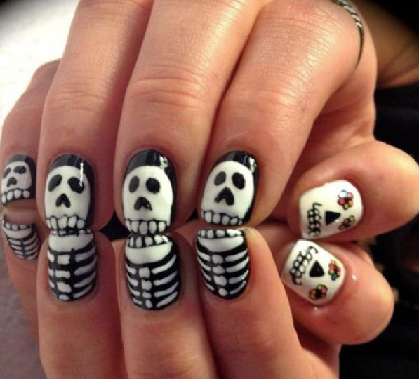 spooky skeleton nails for halloween